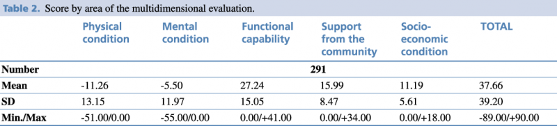 Table 2. Score by area of the multidimensional evaluation.
