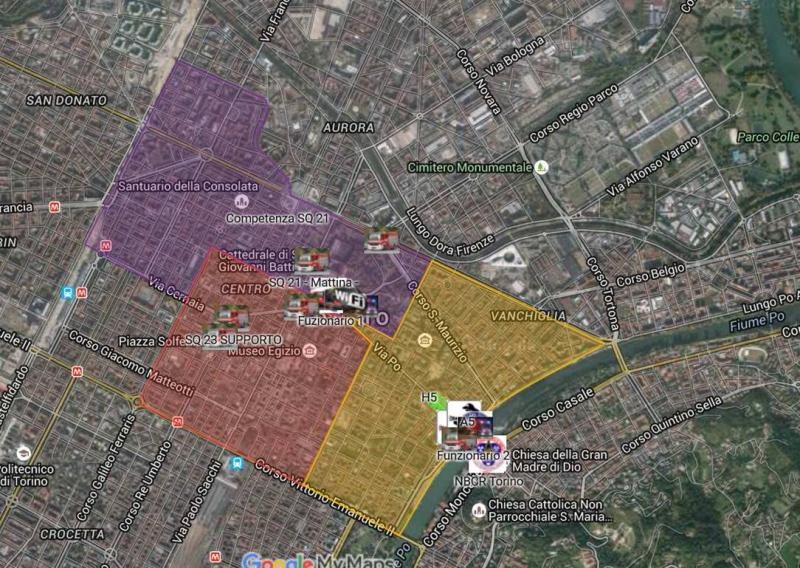 Figure 1. The planning of the areas of competence of the teams in extraordinary device in the historical center represented by the TAS (Emergency Fire Service Topography Group) core of the on commercial Google map and Applied ICS system (left) – Arrangement of seats for the Mass of the Pope in Turin (right) – June 2015.